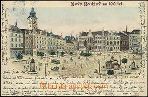 48496 - 1904 Nový Bydžov, kreslený kolorovaný pohled na náměst
