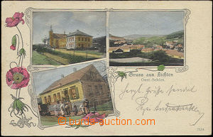 48503 - 1902 LICHNOV (Lichten), 3-views collage, Art Nouveau border,