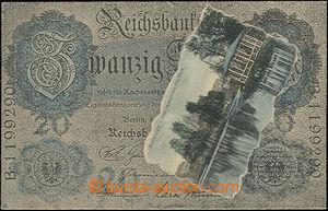 48508 - 1909 Mittweida, koláž, jezerního pavilon vkomponovaný do