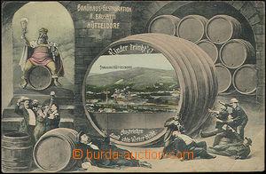 48512 - 1910 Hütteldorf, kolorovaná koláž, pijáci piva, sud, pi