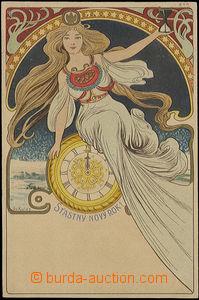 48526 - 1906? barevná secesní pohlednice k Novému roku, dívka s