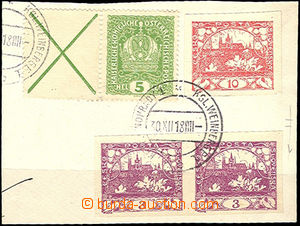 48783 - 1918 cut square letter with mixed franking Hradčany (imperf