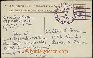 48813 - 1945 USA  propagační pohlednice zaslaná příslušníkem