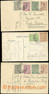 48841 - 1925 3 postcard sent to Bohemia, richer franking, well prese