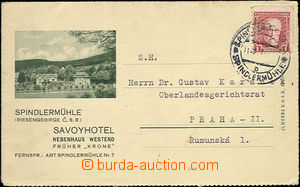 48857 - 1934 folded advertising letter-card hotel Savoy in Špindler