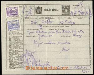 48860 - 1919 předběžný maďarský spěšný telegram 2f Sürgös