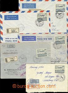 48871 - 1946 Czechoslovakia  first flight Prague - New York, comp. 5