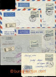 48871 - 1946 ČSR  I.let Praha - New York, sestava 5ks R dopisů, r�