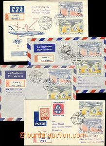48873 - 1958 ČSR  I. lety ČSA, sestava 4ks R dopisů z letů Praha
