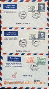 48874 - 1948 ČSR  I. lety ČSA, sestava 3ks obálek prvních letů