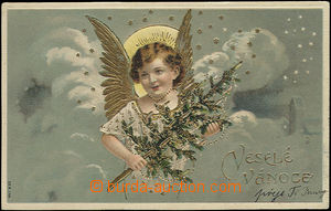 48877 - 1906 Christmas greeting with angel, gilt, embossed; Us, wrin