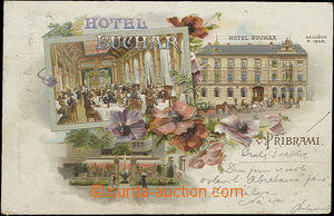 48879 - 1901 Příbram - advertising 3-views lithography, hotel Buchar