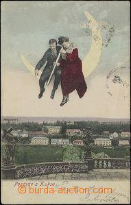 48882 - 1907 Kuks - collage, milenecká pair pozoruje dalekohledem f