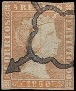 48958 - 1850 Mi.3, jasně růžová, těsný střih, němé razítko