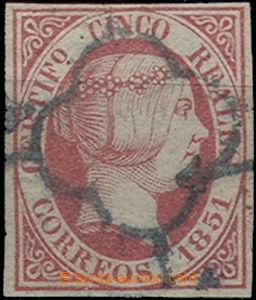 48960 - 1851 Mi.9, tmavě růžová, pěkný odstín, hezký střih,