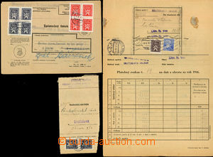 49062 - 1947-8 comp. of 2 entires and 7 pcs of cut-squares franked s