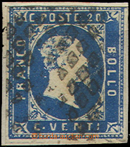 49078 - 1851 Mi.2, dark blue, very wide margins, dumb postmark., min