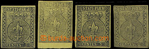 49142 - 1852 Mi.1a, assembly of 4 pieces, 2 stamps with gum, there o