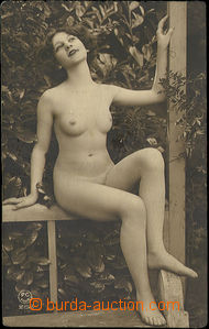 49147 - 1920 girl on/for bench below pergolou; isn't postcard, round