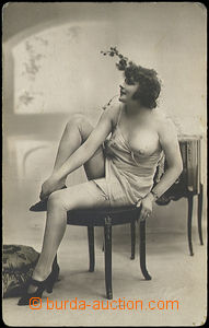 49149 - 1920 girl on/for stoličce; isn't postcard, rounded corners