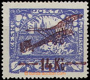 49212 - 1920 Pof.L1A, 14Kč/200h blue, line perf A 13¾;, expert