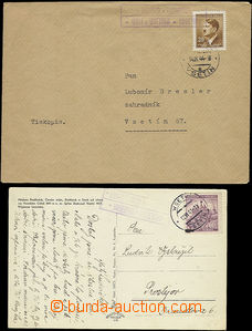 49272 - 1941-44 2x entire with print postal-agencies dist. Vsetín,