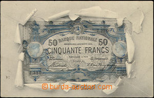49300 - 1903 bank note/-s on Ppc, Belgium, collage torn paper; long