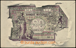 49301 - 1903 bank note/-s on Ppc, Belgium, collage torn paper; long