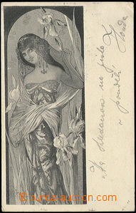 49312 - 1903 lady with kosatci; long address, Us, wrinkled corner