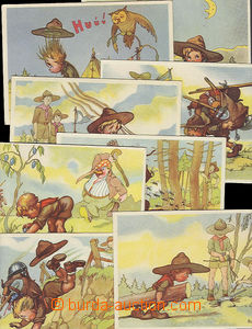 49342 - 1940? sestava 9ks VF kreslených pohlednic s tématikou skauts