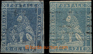 49363 - 1851 Mi.5ax, tmavě modrá na modrém papíru, a Mi.5ay, mod
