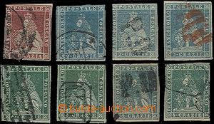 49370 - 1851-59 sestava 8ks zn. I. a II. emise, obsahuje Mi.4ay, 5ax
