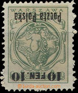 49374 - 1918 Mi.3 Varšavská s přetiskem, obrácený přetisk (!), zbyte