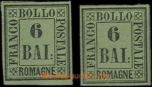 49388 - 1859 Mi.7, black on yellow-green paper, 2 pieces, very nice