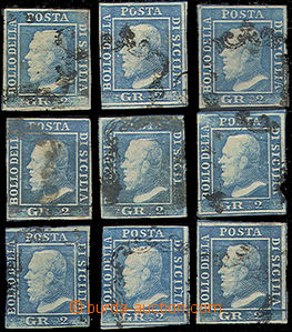 49398 - 1859 Mi.3a, study assembly of 9 pieces, 3x subtype dot above