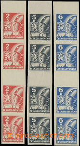 49413 - 1945 Pof.354, 355, 356 same facing gutter (4), Košice-issue