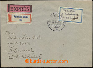 49434 - 1945 express registered letter paid cash with Paid Cash 6.70