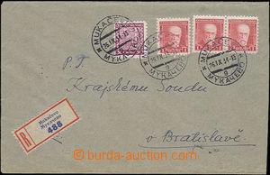49451 - 1934 těžší R-dopis zaslaný z Mukačeva 26.I.34 do Brati