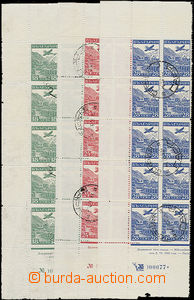 49468 - 1932 Mi.249-51, left margin parts of sheet with 10 pieces of