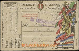 49515 - 1918 card Italian FP sent by member of 33. Czechoslovak Regi