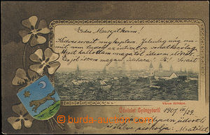 49517 - 1907 Gyöngyös - picture collage with  by coat of arms, embos