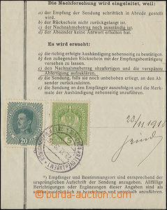 49588 - 1918 část poptávacího listu vyfr. rakouskými zn. Mi.186