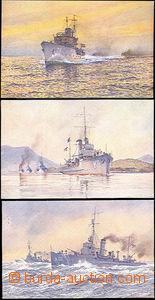49688 - 1920 sestava 3ks pohlednic s obrazy křižníků jugoslávsk