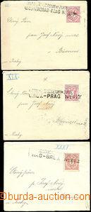 49702 - 1889? 3x dopis menšího formátu s konduktérskými razítky Brüx