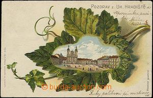 49718 - 1900? Uherské Hradiště - litografická koláž náměstí v listu