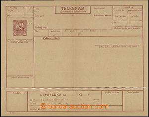 49727 - 1927 CTÚ4A, telegram na účet, český, vročení a (192),