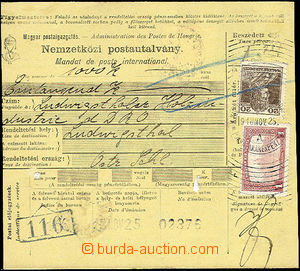 49742 - 1918 hungarian parcel bill without left cut-off, paid with s