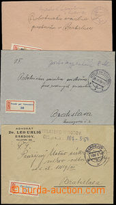 49770 - 1945 3 R letters from Slovakia paid/franked cash, 1x 6CZK CD