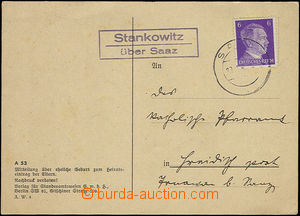 49776 - 1942 card with postal agency pmk Stankowitz/ über Saaz (c.v