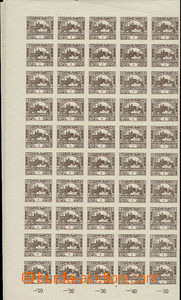49780 -  Pof.1, 1h brown, complete 100-stamps sheet with margin and